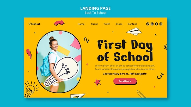 Plantilla de página de aterrizaje de regreso a la escuela