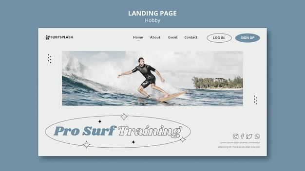 Plantilla de página de aterrizaje de splash y surf