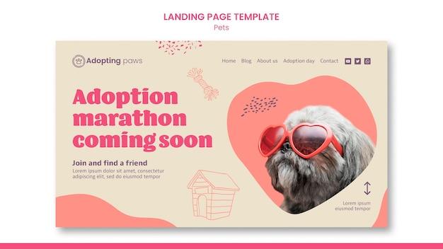 Plantilla de página de destino para adopción de mascotas con perro