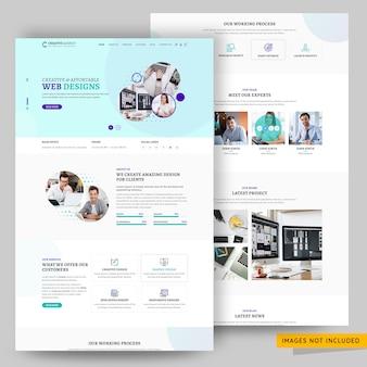 Plantilla de página de destino de agencia de diseño corporativo y creativo