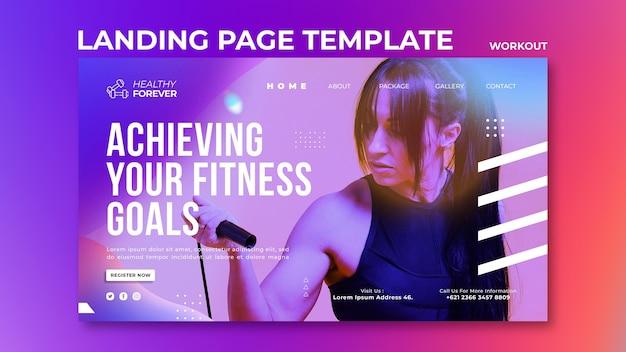 Plantilla de página de destino para alcanzar sus objetivos de fitness