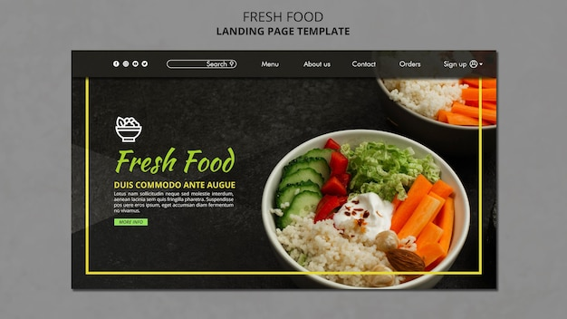 Plantilla de página de destino de alimentos frescos