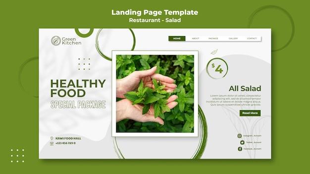 Plantilla de página de destino de alimentos saludables