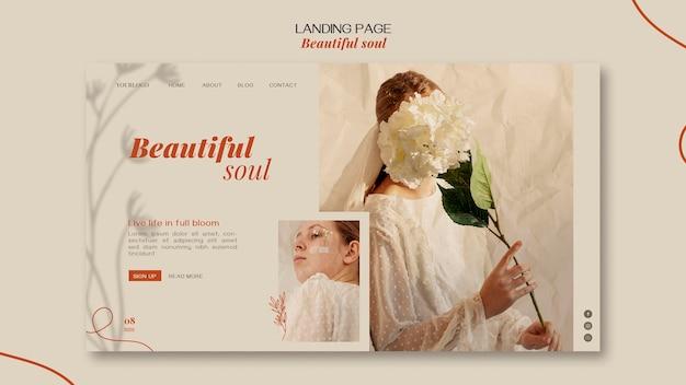 Plantilla de página de destino de anuncio de alma hermosa