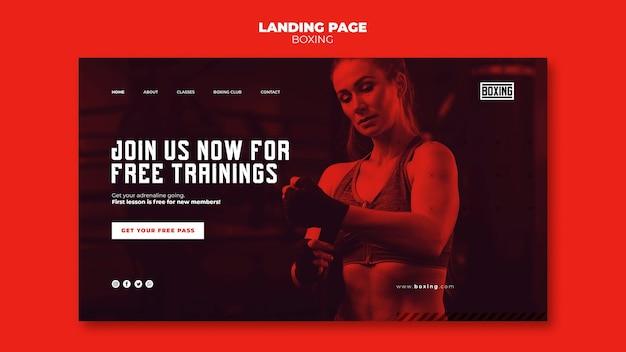 Plantilla de página de destino de anuncio de boxeo