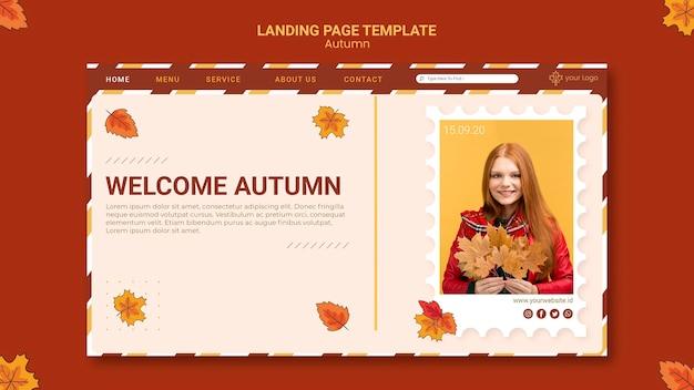 Plantilla de página de destino de anuncio de otoño