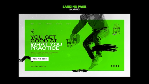 Plantilla de página de destino de anuncio de patinaje