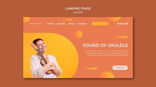 Plantilla de página de destino de anuncio de ukelele