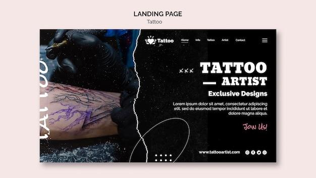 Plantilla de página de destino de artista del tatuaje