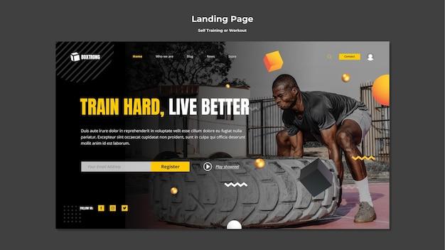 Plantilla de página de destino para autoentrenamiento y ejercicio