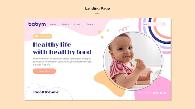 Plantilla de página de destino para bebé recién nacido