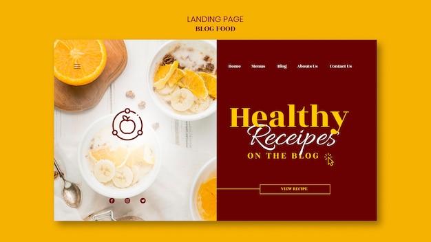 Plantilla de página de destino para blog de recetas de comida saludable