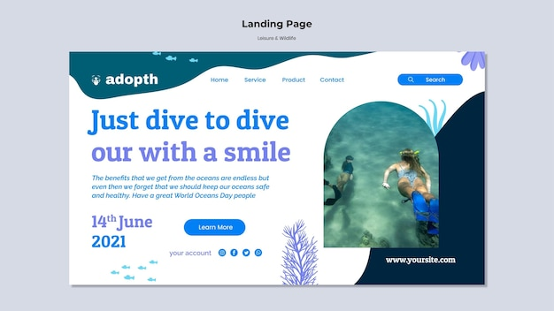 Plantilla de página de destino para buceo submarino