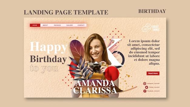 Plantilla de página de destino para celebración de aniversario de cumpleaños