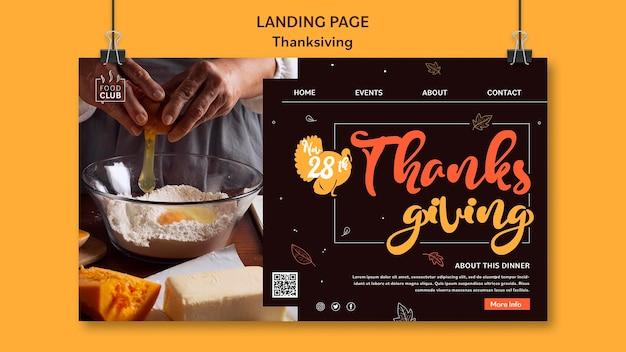 Plantilla de página de destino de celebración del día de acción de gracias