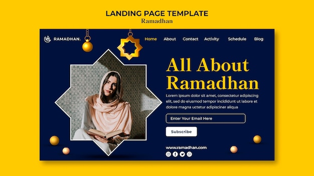 Plantilla de página de destino de celebración de ramadán