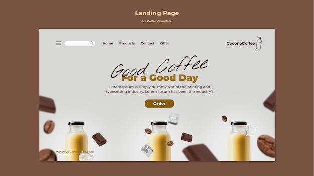Plantilla de página de destino de chocolate con café helado