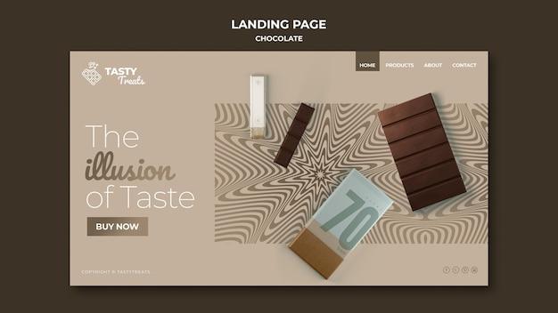Plantilla de página de destino para chocolate