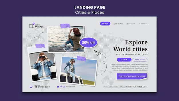 Plantilla de página de destino de ciudades y lugares