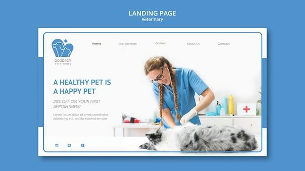 Plantilla de página de destino de clínica veterinaria