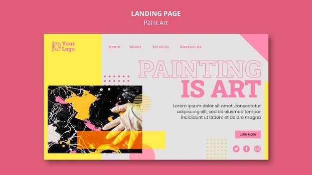 Plantilla de página de destino del concepto de arte de pintura