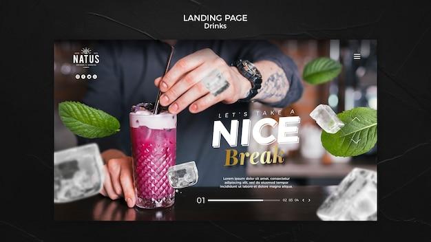 Plantilla de página de destino de concepto de bebidas