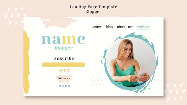 Plantilla de página de destino del concepto blogger