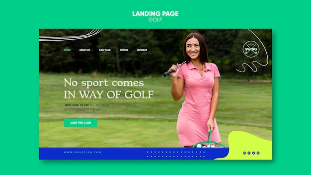 Plantilla de página de destino de concepto de golf