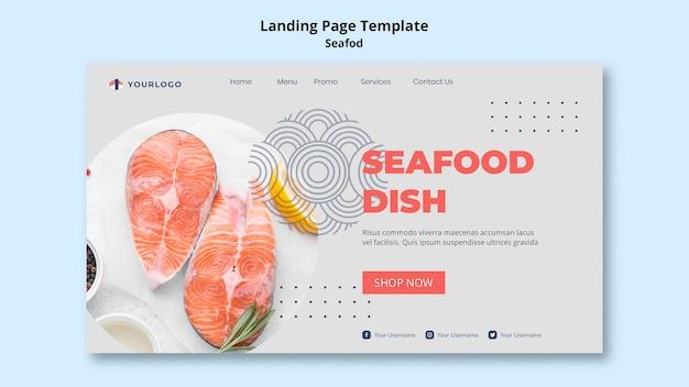 Plantilla de página de destino del concepto de mariscos