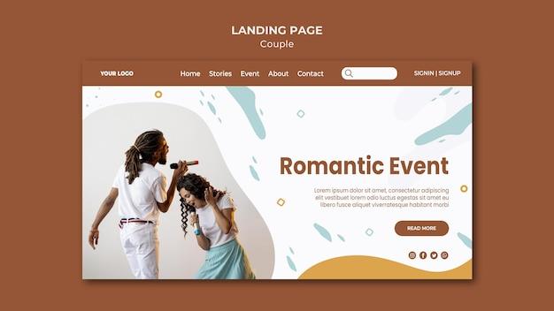 Plantilla de página de destino de concepto de pareja