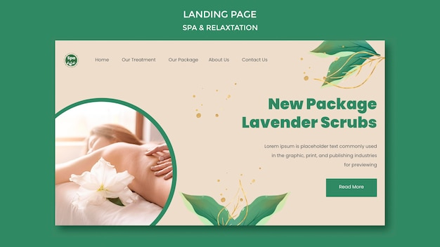 Plantilla de página de destino de concepto de spa