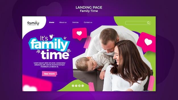 Plantilla de página de destino del concepto de tiempo en familia