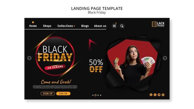 Plantilla de página de destino del concepto de viernes negro
