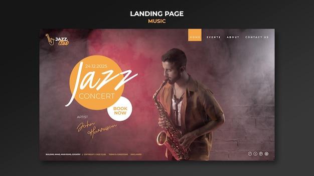 Plantilla de página de destino de concierto de jazz