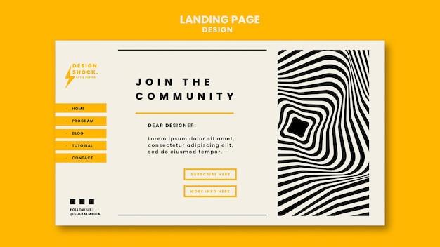 Plantilla de página de destino para cursos de diseño gráfico.