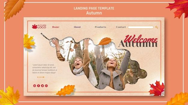 Plantilla de página de destino para dar la bienvenida a la temporada de otoño