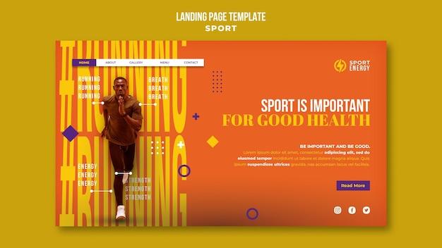 Plantilla de página de destino para deporte con citas motivacionales.