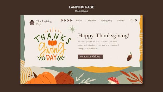 Plantilla de página de destino del día de acción de gracias con detalles otoñales