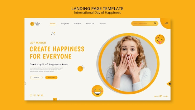 Plantilla de página de destino del día internacional de la felicidad