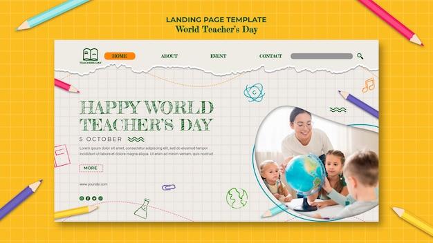 Plantilla de página de destino del día del maestro