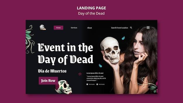 Plantilla de página de destino del día de los muertos
