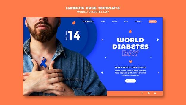 Plantilla de página de destino del día mundial de la diabetes
