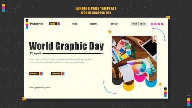 Plantilla de página de destino del día mundial de los gráficos