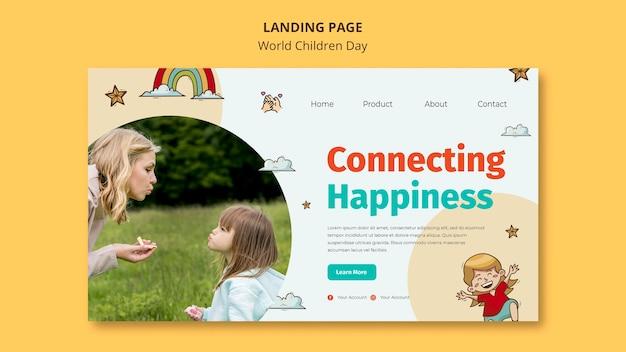 Plantilla de página de destino del día mundial del niño