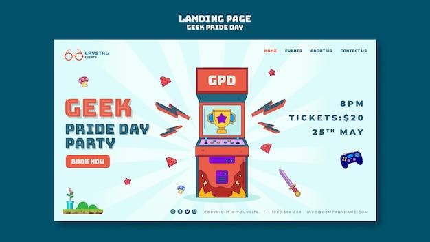 Plantilla de página de destino del día del orgullo geek