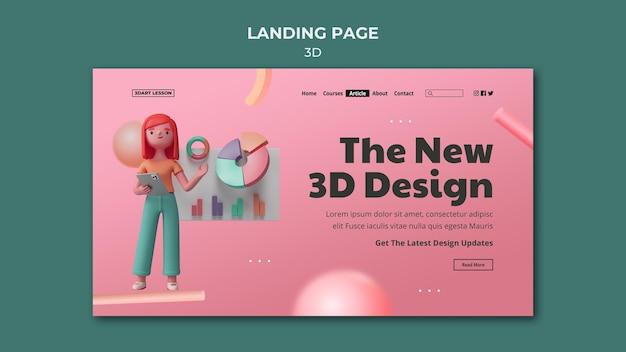 Plantilla de página de destino para diseño 3d con mujer