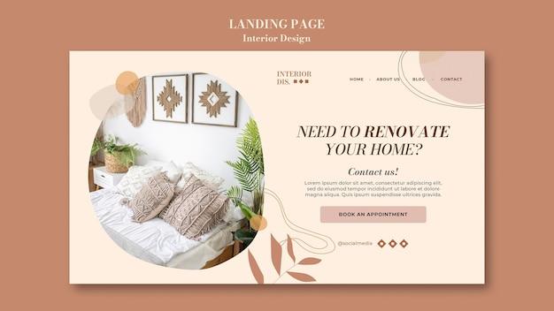Plantilla de página de destino de diseño de interiores
