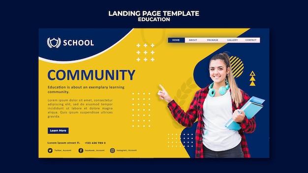 Plantilla de página de destino de educación