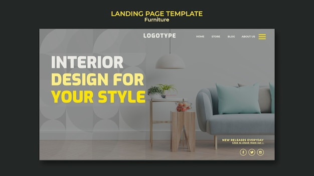 Plantilla de página de destino para empresa de diseño de interiores