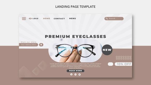 Plantilla de página de destino para empresa de gafas